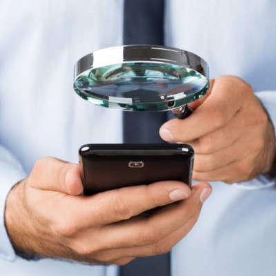 Smartphone magnifying glass, search, Police