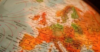 Map of Europe, globe