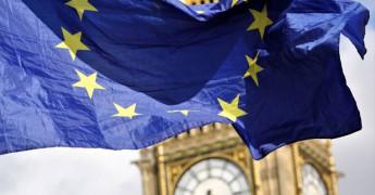 EU Flag, UK Parliament, Big Ben