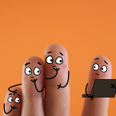 Finger people, looking at laptop, Privacy