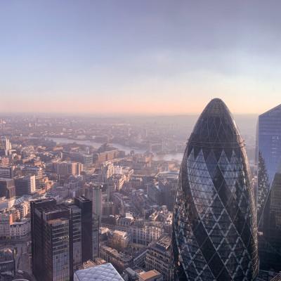 London skyline, the gherkin building Heron Tower, 110 Bishopsgate, skyscrapers, bridges and the Thames River