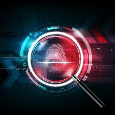 Fingerprint, magnifying glass, data breach investigation