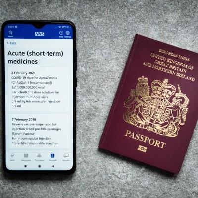 NHS vaccine passport, facial verification app