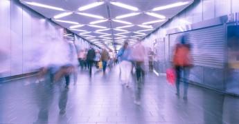 Blurred people new york subway